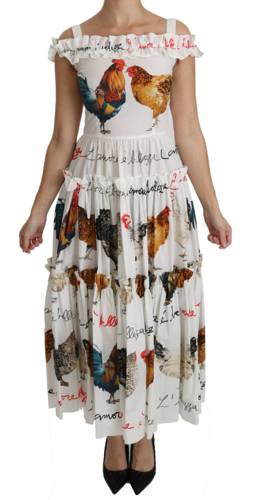 White Rooster Sheath Midi Cotton Dress, Fashion Brands Outlet