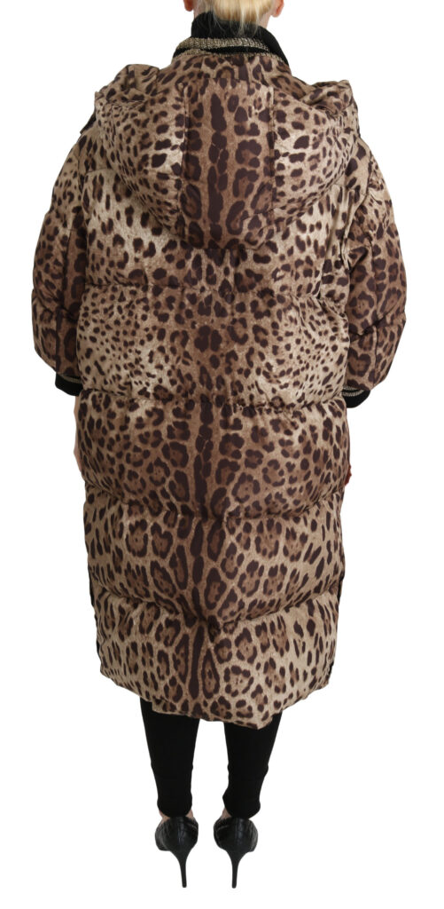 Brown Leopard Down Hooded Coat Jacket, Fashion Brands Outlet