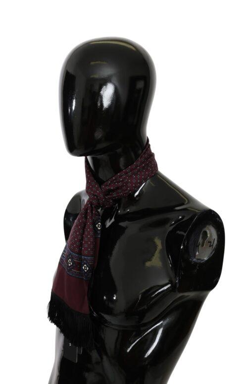 Maroon Baroque Fringe Wrap Shawl Silk Scarf, Fashion Brands Outlet