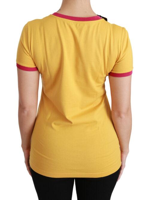 Yellow Santa Moda Crewneck Cotton Top T-shirt, Fashion Brands Outlet