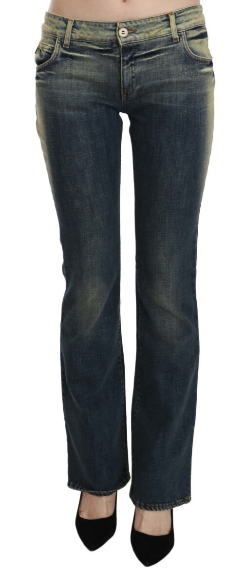 Blue Washed Low Waist Flared Denim Pants, Fashion Brands Outlet