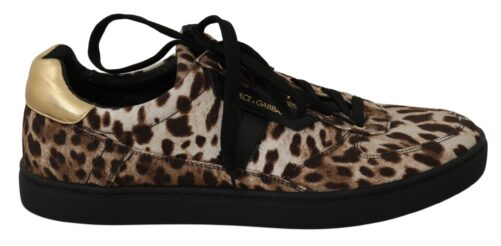 Brown Leopard Cotton Leather Sneakers, Fashion Brands Outlet