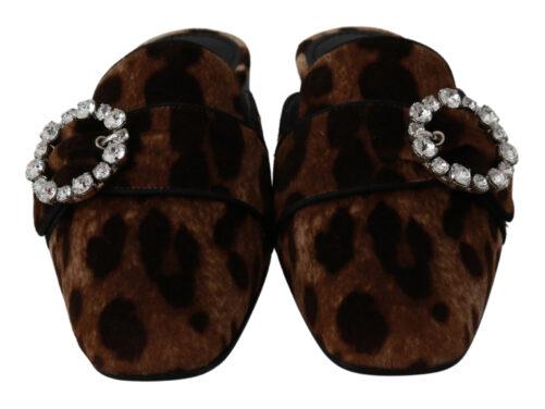 Brown Leopard Crystal Slide On Flats Shoes, Fashion Brands Outlet