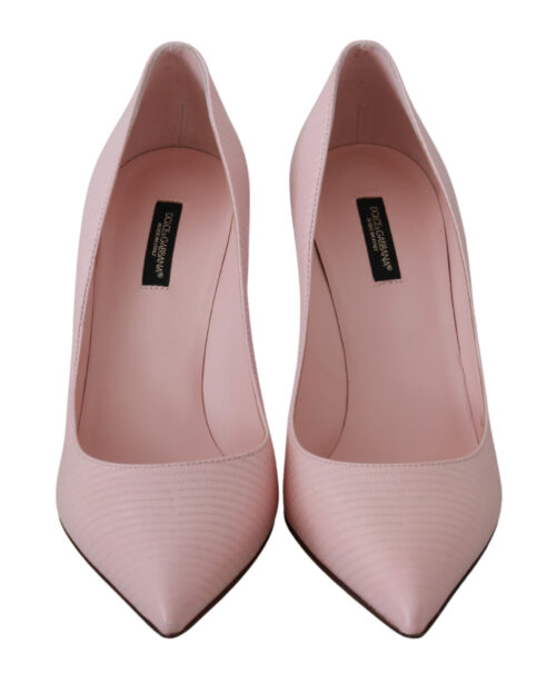 Pink Leather Classic Heels Pumps Shoes, Fashion Brands Outlet