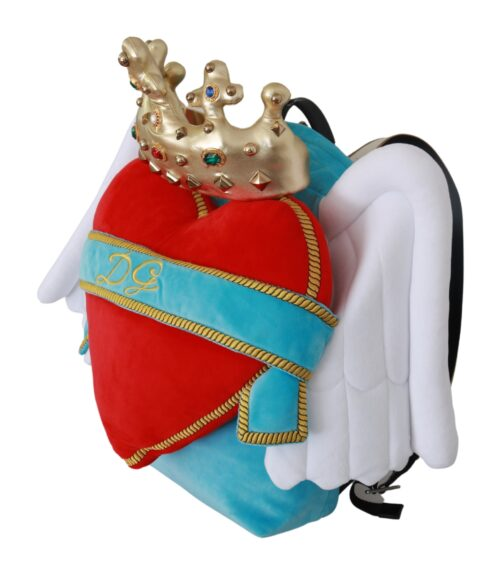 Red Blue Heart Wings DG Crown School Backpack, Fashion Brands Outlet