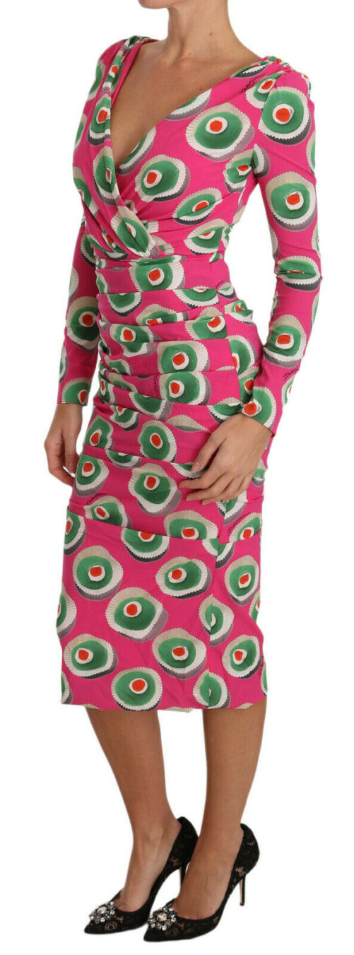 Pink Silk Cup Cake Sheath Stretch Dress, Fashion Brands Outlet