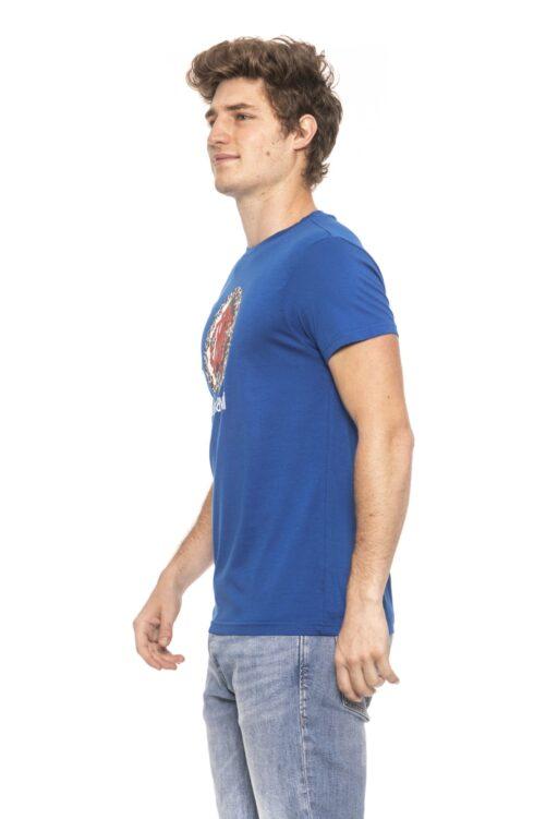 Blue Short Sleeves T-shirt. Front Logo Print., Fashion Brands Outlet