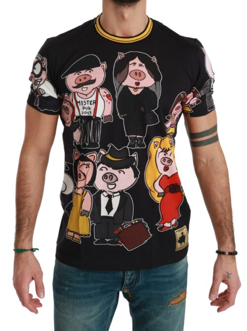 Black Cotton Top 2019 Year of the Pig T-shirt, Fashion Brands Outlet