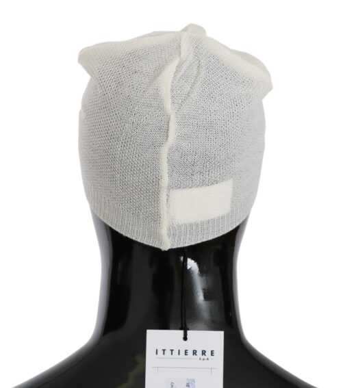Beanie White Wool Blend Branded Hat, Fashion Brands Outlet