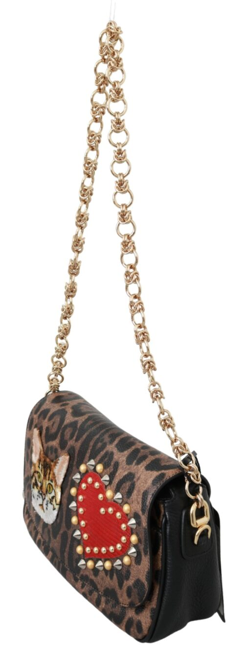 Brown Leopard Amour Heart Cat Studs Sling Purse GIANIS Bag, Fashion Brands Outlet