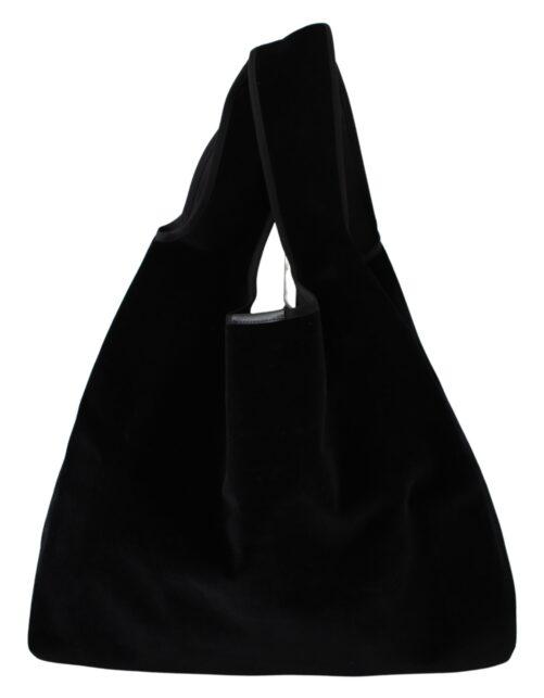 Black Velvet Logo Shopping MARKET Handbag Tote Bag, Fashion Brands Outlet