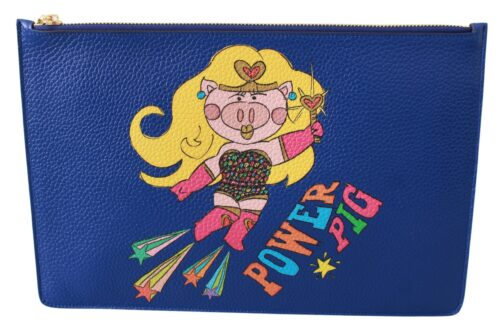 Blue Pig Super Girl Women Pouch Clutch Leather Bag, Fashion Brands Outlet