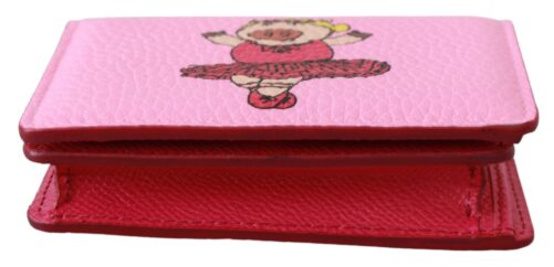 Pink Year Of The Pig Bifold Card Holder Leather Wallet, Fashion Brands Outlet