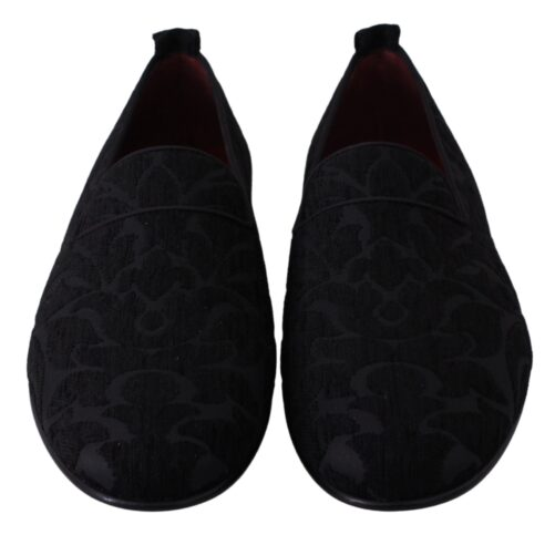 Black Jacquard Flats Slippers Loafers Shoes, Fashion Brands Outlet