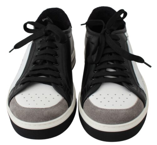 Black White Leather Casual Sneakers Shoes, Fashion Brands Outlet
