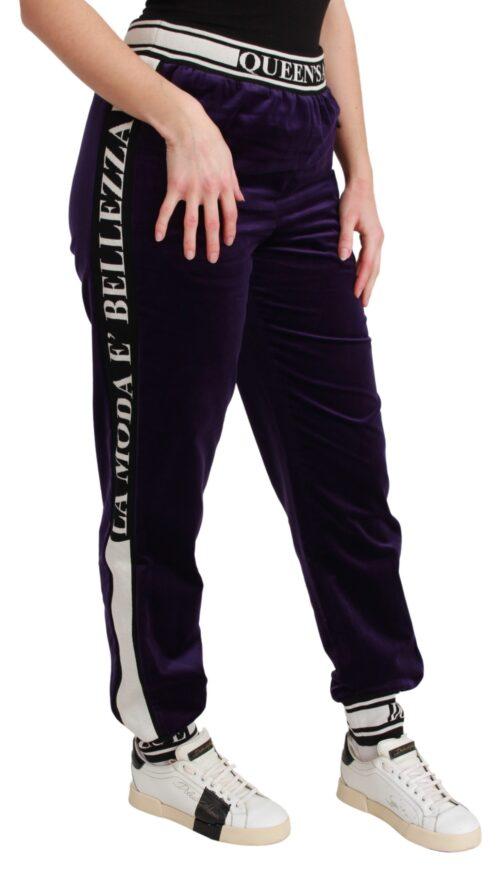 Purple Velvet Sweatpants Trousers Pants, Fashion Brands Outlet
