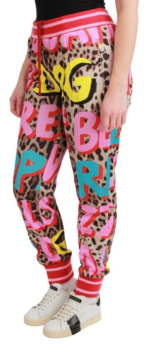Pink Sweatpants Trousers Leopard Motive Pants, Fashion Brands Outlet