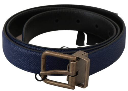Blue Gold Brushed Buckle Leather Belt, Fashion Brands Outlet