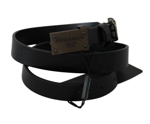 Black Leather DG Logo Buckle Belt, Fashion Brands Outlet