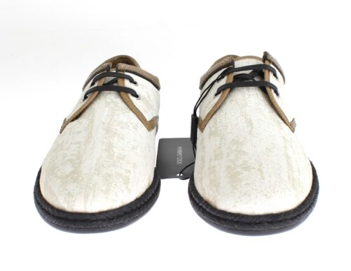 White Denim Brown Leather Casual Shoes, Fashion Brands Outlet