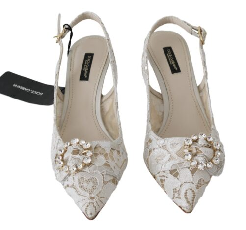 White Floral Lace Crystal Slingbacks Shoes, Fashion Brands Outlet
