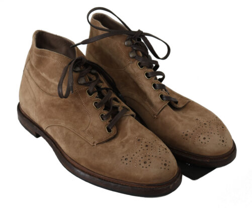 Beige Leather Brogue Derby Boots Shoes, Fashion Brands Outlet