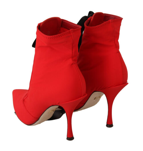 Red Boots Red Stretch Heels Ankle Shoes, Fashion Brands Outlet