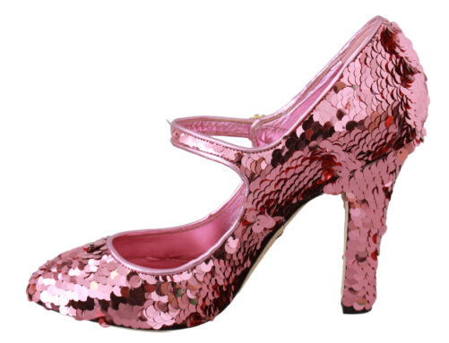 Pink Sequined Crystal Mary Jane Heels Shoes, Fashion Brands Outlet