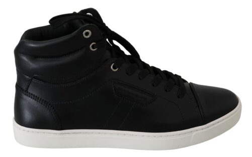 Black Leather DG Logo High-Top Shoes Sneakers, Fashion Brands Outlet