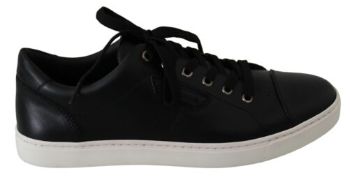 Black Leather Mens Casual Sneakers Shoes, Fashion Brands Outlet
