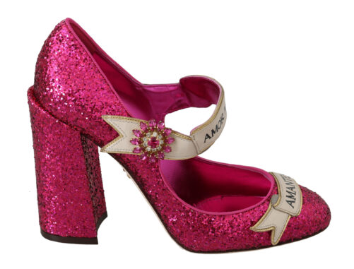 Pink Crystal AMOR Mary Janes Glitter Shoes, Fashion Brands Outlet