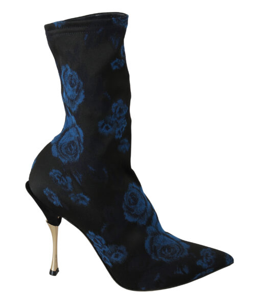 Black Stretch Blue Roses Ankle Boots Shoes, Fashion Brands Outlet