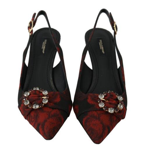 Black Red Roses Slingbacks Heels Shoes, Fashion Brands Outlet