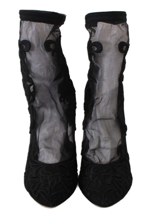 Black Roses Stilettos Booties Socks Shoes, Fashion Brands Outlet