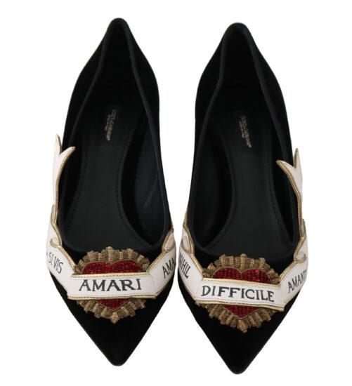 Black Velvet Leather Red Heart Heels Shoes, Fashion Brands Outlet