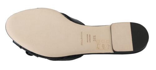 Black Ayers Leather Flats Slides Shoes, Fashion Brands Outlet
