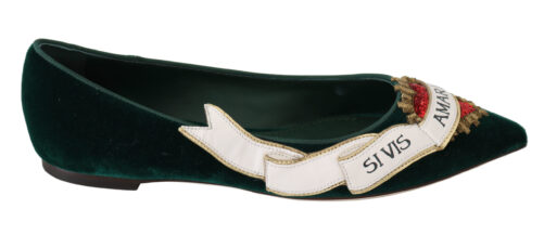 Green Velvet Red Heart Flats Loafers Shoes, Fashion Brands Outlet