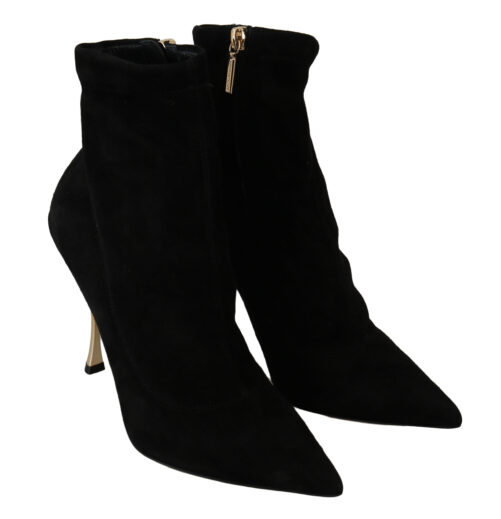 Black Suede Gold Heels Ankle Boots Shoes, Fashion Brands Outlet