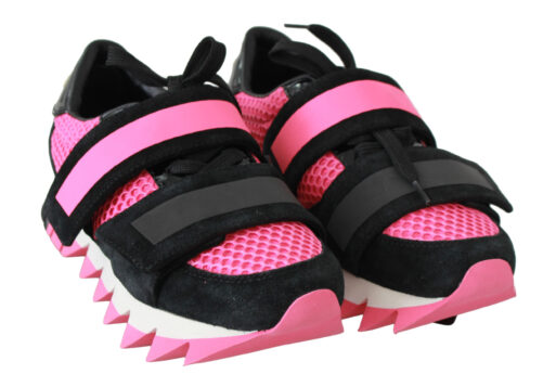 Black Pink Leather Strap Shoes Sneakers, Fashion Brands Outlet