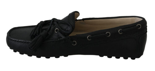Black Leather Flat Loafers Moccasin Shoes, Fashion Brands Outlet