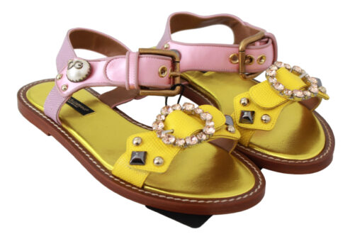Yellow Pink Crystal Flat Sandals Shoes, Fashion Brands Outlet