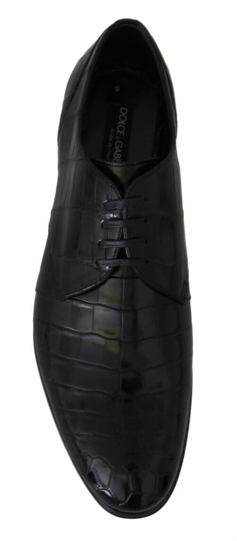 Black Crocodile Dress Laceup Formal Shoes, Fashion Brands Outlet