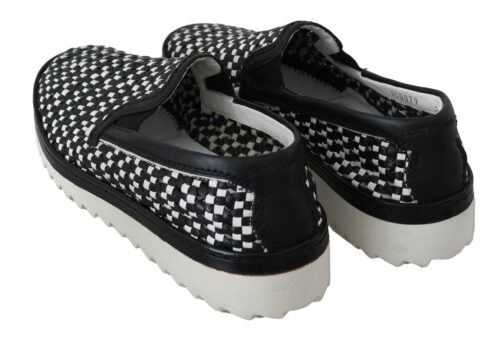 Black White Woven Leather Loafers Shoes, Fashion Brands Outlet