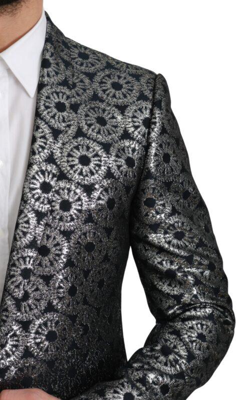 Blue Silver Metallic Jacket GOLD Blazer, Fashion Brands Outlet