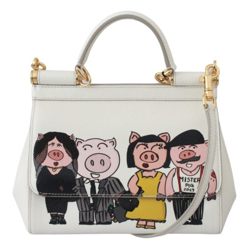 White Leather Year of the Pig Purse Borse SICILY Bag, Fashion Brands Outlet