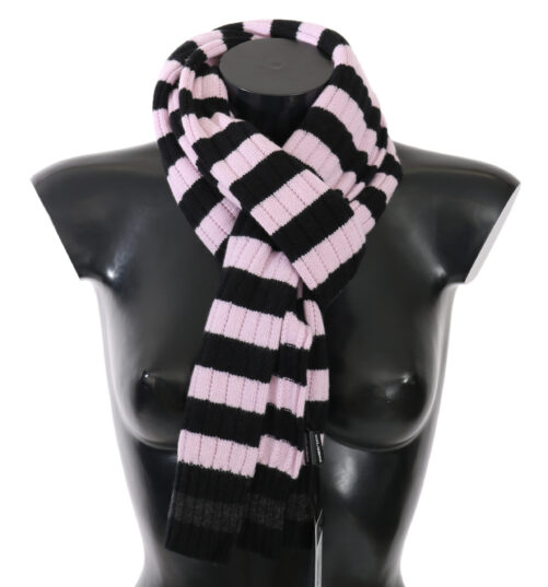 Pink Black Striped Cashmere Wool Wrap Scarf, Fashion Brands Outlet