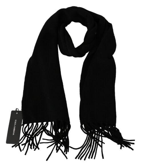 Black Cashmere Fringes Unisex Scarf, Fashion Brands Outlet