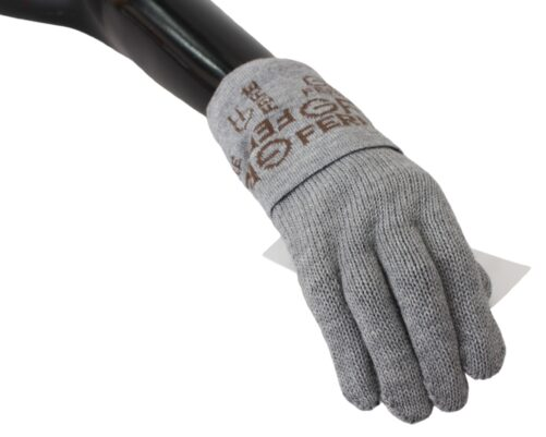 Gray Elastic Wrist Length Mitten Gloves, Fashion Brands Outlet