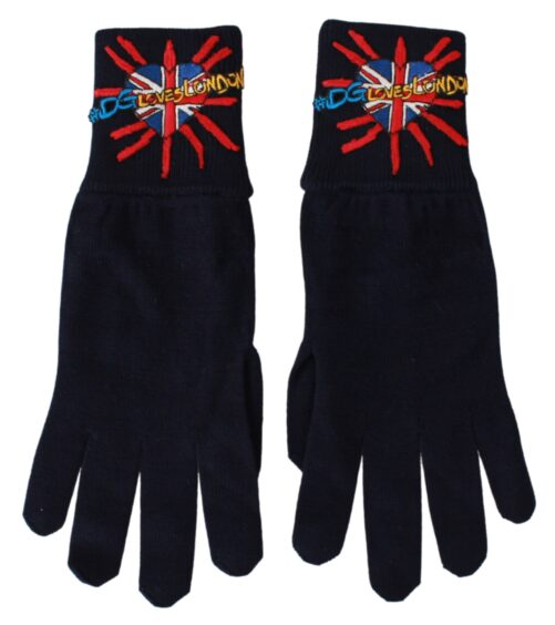 Blue #DGLovesLondon Embroidered Wool Gloves, Fashion Brands Outlet