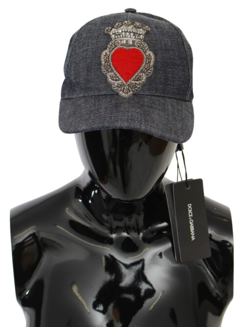 Gray Red Crystal Heart Baseball Cap Cotton Hat, Fashion Brands Outlet